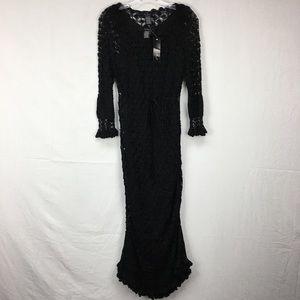 NWT ECI New York Crochet Black Knit L/S Dress 10
